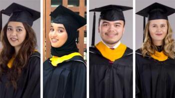 Nayab Rana, Kholoud Al Shiba, Afif Haitsam and Emma Mogensen wear their caps, gowns and hoods in side-by-side headshots.